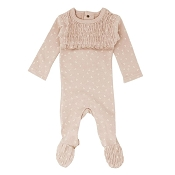 L'ovedbaby Organic Smocked Baby Footie - Rosewater Dots