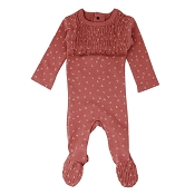 L'ovedbaby Organic Smocked Baby Footie - Sienna Dots
