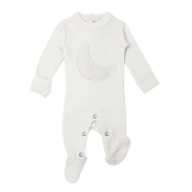 L'ovedbaby Velveteen Graphic Footie - White