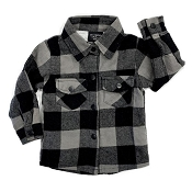 Little Bipsy Collection Fully Lined Buffalo Plaid Flannel - Charcoal & Black *CLEARANCE*