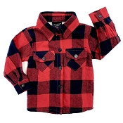 Little Bipsy Collection Fully Lined Buffalo Plaid Flannel - Red & Navy