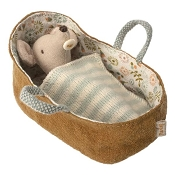 *Maileg Baby Mouse in Carrycot