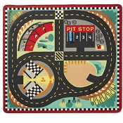 *Melissa & Doug Round the Speedway Race Track Rug & Car Set