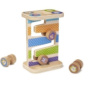 *Melissa & Doug First Play Wooden Safari Zig-Zag Tower With 4 Rolling Pieces