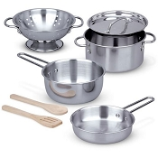 *Melissa & Doug Let's Play House! Stainless Steel Pots & Pans Play Set