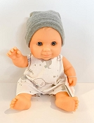 *Minikane / Paola Reina Doll - Baby Boy in Beige Printed Romper with Hat