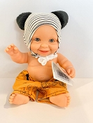 *Minikane / Paola Reina Doll - Baby Boy in Black & White Striped Hat and Shorts