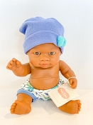 *Minikane / Paola Reina Doll - Baby Boy in Blue Hat and Blue & White Shorts