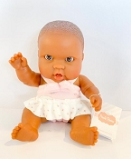 *Minikane / Paola Reina Doll - Baby Girl in Pink & White Dress