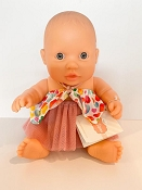 *Minikane / Paola Reina Doll - Baby Girl in White Top with Hearts & Pink Skirt