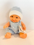 *Minikane / Paola Reina Doll - Baby Boy in Blue & White Romper and Hat