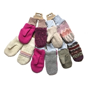 Nooks Design Kids' Upcycled Wool Mittens - Feminine Colours