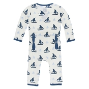 KicKee Pants Fitted Coverall - Natural Sailboat (ZIPPER)