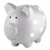 *Pearhead Ceramic Piggy Bank - Grey with Polka Dots
