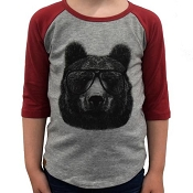 *CLEARANCE* L&P Baseball Style Jersey - Bear (Red & Grey)