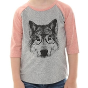 *CLEARANCE* L&P Baseball Style Jersey - Wolf (Vintage Pink & Grey)