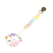 *Loulou Lollipop Pink Unicorn Donut Silicone Teether with Holder
