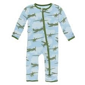 KicKee Pants Fitted Coverall - Pond Airplanes (ZIPPER)
