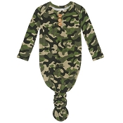 Posh Peanut Wood Button Knotted Gown - Cadet (Size 0-3 Months)