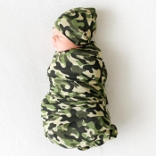 Posh Peanut Infant Swaddle And Beanie Set - Cadet