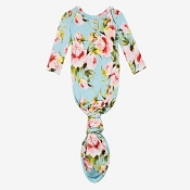 Posh Peanut Carolina Floral Button Knotted Gown - 0-3 Months