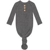 Posh Peanut Wood Button Knotted Gown - Charcoal Heather