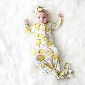 Posh Peanut Lemon Button Knotted Gown - 0-3 Months