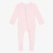 Posh Peanut Footie Ruffled Snap One Piece - Pink Heather