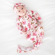 Posh Peanut Pink Rose Knotted Gown - Newborn