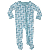 Posh Peanut Houndstooth Teal Zippered Footie