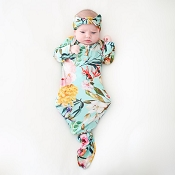 Posh Peanut Tuscan Teal Button Knotted Gown - Newborn