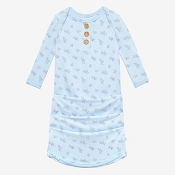 Posh Peanut Wood Button Zippered Gown (0-3 Months) - Grace