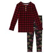 Posh Peanut Long Sleeve Henley Pajama Set - Levi (Size 2 Years)