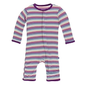 KicKee Pants Fitted Coverall - Girl Perth Stripe (ZIPPER) - Size 0-3 Months -  *CLEARANCE*
