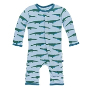 KicKee Pants Fitted Coverall - Pond Crocodile (ZIPPER)