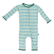 KicKee Pants Fitted Coverall - Boy Tropical Stripe