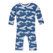 KicKee Pants Fitted Coverall - Twilight Whale (SNAPS)