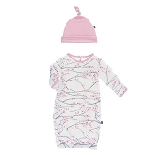KicKee Pants Print Layette Gown & Single Knot Hat Set - Natural Japanese Cherry Tree