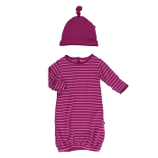 KicKee Pants Print Layette Gown & Single Knot Hat Set - Dragonfruit Stripe *CLEARANCE FINAL SALE*