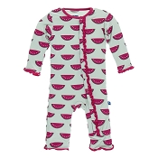 KicKee Pants Muffin Ruffle Coverall - Watermelon