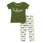KicKee Pants Short Sleeve Pajama Set - Natural Crocodile