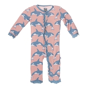 KicKee Pants Fitted Ruffle Coverall - Blush Orca