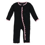 KicKee Pants Muffin Ruffle Coverall - Midnight with Lotus (ZIPPER)