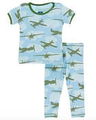 KicKee Pants Short Sleeve Pajama Set - Pond Airplanes