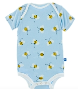 KicKee Pants Print Short Sleeve One-Piece - Pond Bees