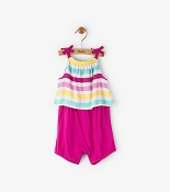 Hatley Fuchsia Summer Stripe Layered Mini Romper (Size 12-18 Months)  *CLEARANCE*
