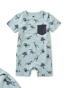 Tea Collection Pop Pocket Shortie Baby Romper - Animal Kingdom