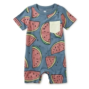 Tea Collection Pop Pocket Shortie Baby Romper - Watermelon (Size 0-3 Months)