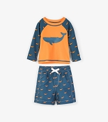 Hatley Tiny Whales Mini Swim Trunks & Rash Guard *CLEARANCE*
