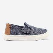 Toms Navy Striped Chambray Tiny TOMS Luca Slip Ons